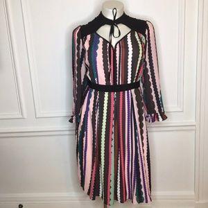 Eloquii Tie Neck Ruffle Sleeve Dress